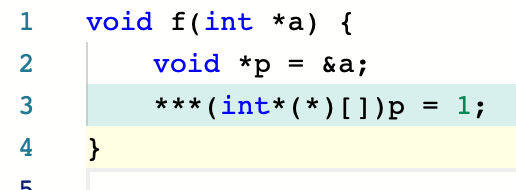 void f(int *a) {<br>   void *p = &a;<br>   ***(int *(*)[])p = 1;<br> }